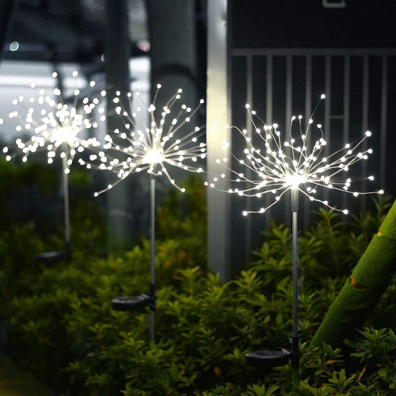 Solar Garden Lights Outdoor 2 Packs 120 LED Firework Lights Solar Garden Decor Lights Copper Wire String Fairy Lights DIY Color Light for Walkway Patio Lawn Backyard Christmas Party Decor (White)
