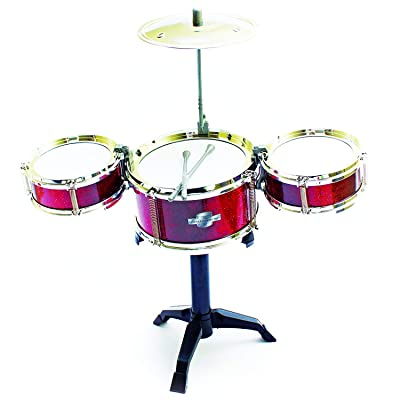 Fun Central Desktop Drum Set Musical Instrument Toy for Kids & Toddlers - Red: Toys & Games