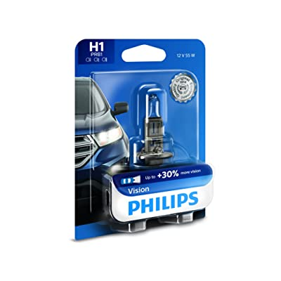 Philips H1 Vision Upgrade Headlight Bulb with up to 30% More Vision, 1 Pack: Automotive