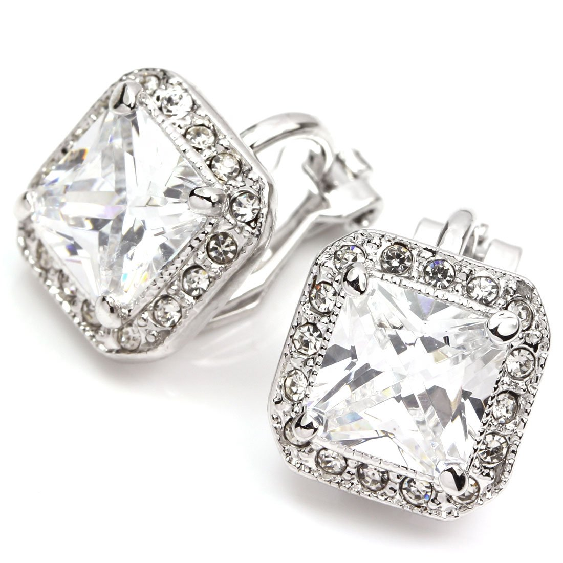FC JORY White Gold Plated Square CZ Halo Princess Cut Solitaire Clip On Earrings