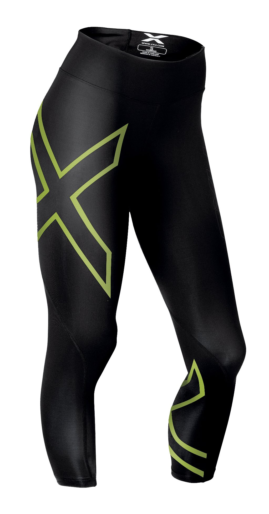2XU Women's Mid-Rise 7/8 Compression Tights, Black/Bright Green, Small by 2XU (Image #1)
