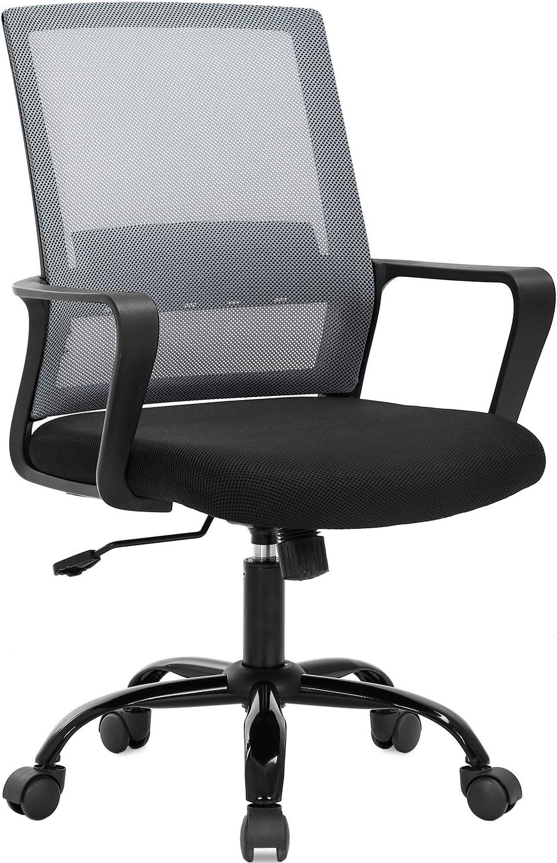 Amazon Com Home Office Chair Ergonomic Desk Chair Swivel Rolling Computer Chair Executive Lumbar Support Task Mesh Chair Adjustable Stool For Women Men Grey Furniture Decor