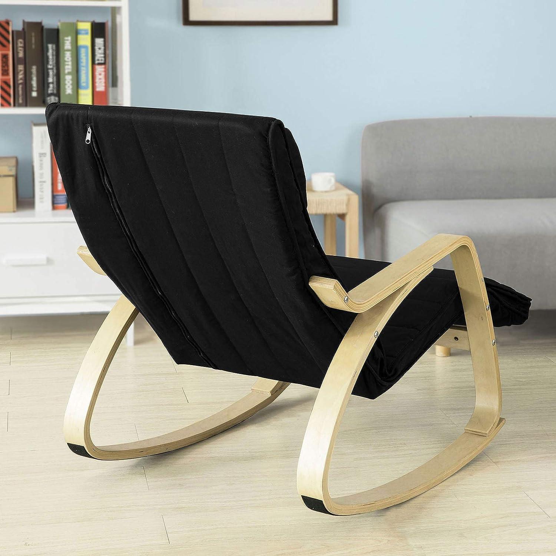 SoBuy® sillón de relada, Silla de relada, mecedora, Mecedora-Reposapiés Ajustable, negro, FST16-SCH,ES