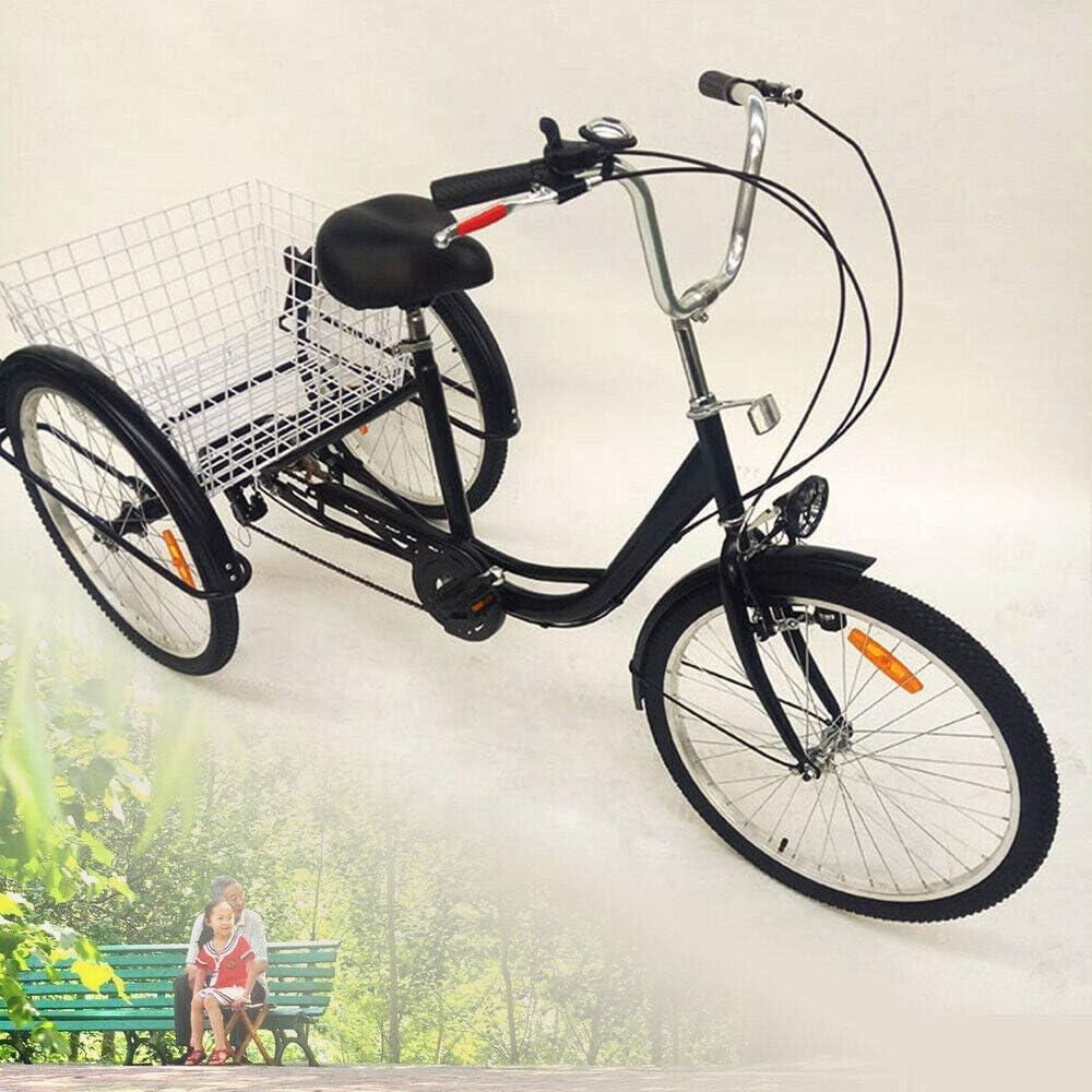 Triciclo para Adultos de 24 y 3 Ruedas con lámpara Bicicleta de 6 ...