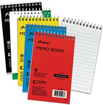 Narrow Rule 3 X 5 White Wirebound Pocket Memo Book 50 Sheets By: Ampad