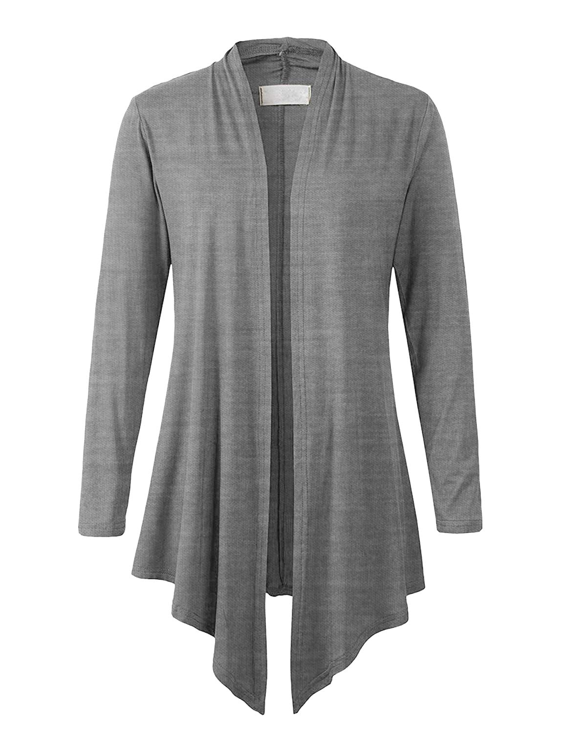 Eanklosco Women's Long Sleeve Drape Open-Front Cardigan Light Weight Irregular Hem Casual Tops (2XL, Heather Grey)