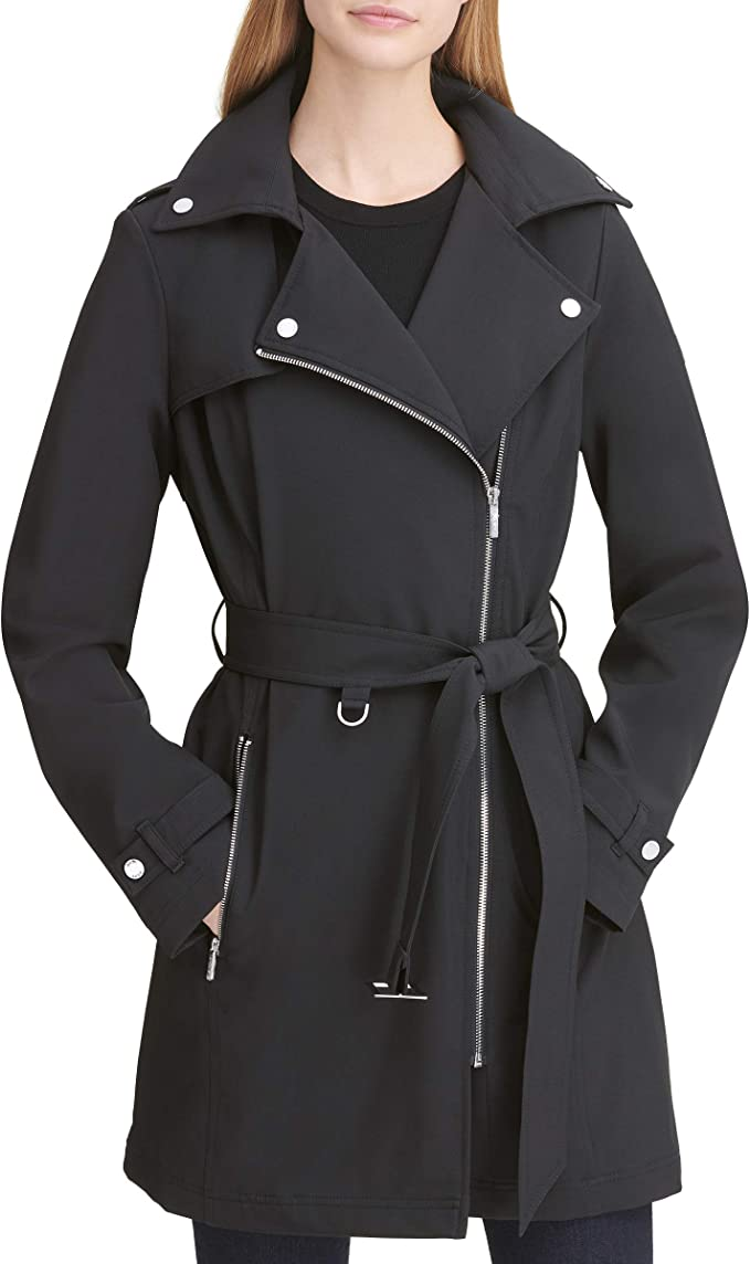 DKNY 女式中长款防水软壳夹克 2.6折$47.02 海淘转运到手约¥391