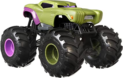 Amazon Com Hot Wheels Monster Trucks Hulk Die Cast 1 24 Scale Vehicle With Giant Wheels For Kids Age 3 To 8 Years Old Great Gift Toy Trucks Large Scales Toys Games