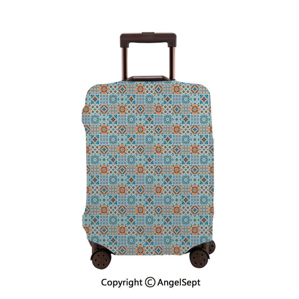 Travel Luggage Cover Spandex Suitcase,Various Different Flower Graphic Ornament Pattern Arabesque Pale and Dark Blue Orange,26x37.8inches,Protector Carry On Covers with Zipper