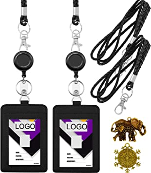Cruise Lanyard with ID Holder Sets Black 3 Pack with Retractable Badge Reel