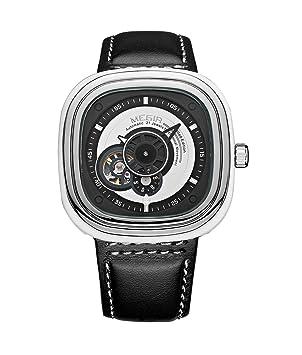 Megir 2018 Nuevos Hombres Relojes Esqueleto Reloj Mecánico Automático Trabajo Cuadrado Sub-Dial Reloj De