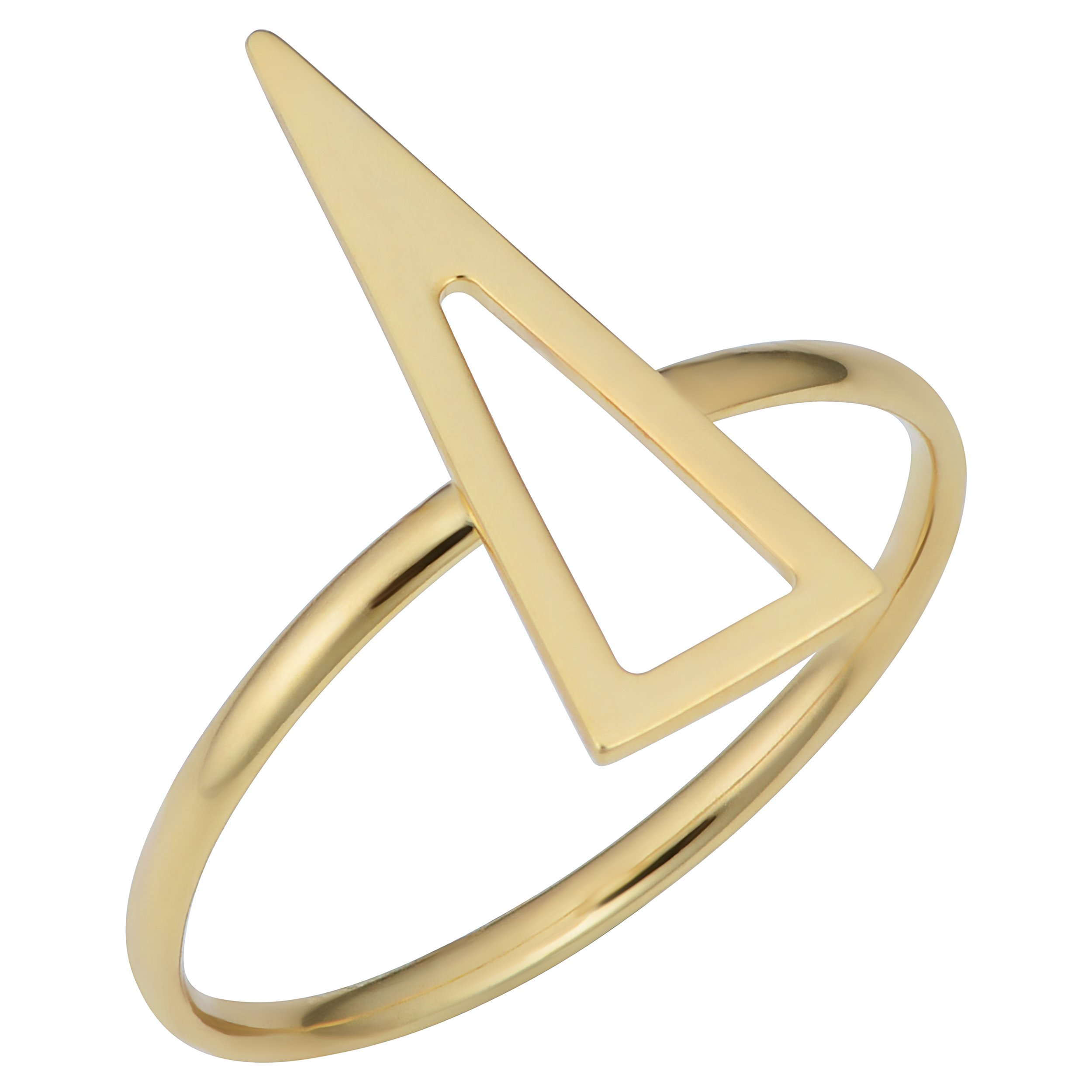 Kooljewelry 14k Yellow Gold Triangle Ring (size 9) by Kooljewelry