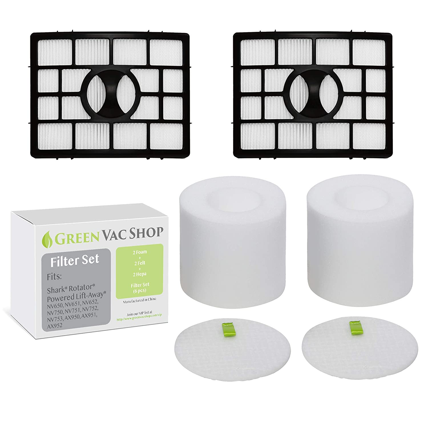GreenVacShop Shark Rotator APEX DuoClean Powered Lift-Away NV650, NV651, NV652, NV750, NV751, NV752, NV753, AX950, AX951, AX952 Replacement Filter Set, XFF650 XHF650 (2 Foam + 2 Felt + 2 HEPA)