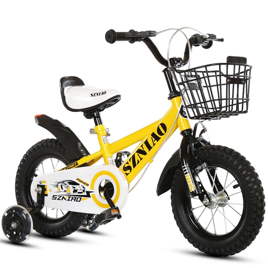 子供用自転車18インチカー6-9歳の赤ちゃん車男性と女性の赤ちゃんキャリッジハイカーボンスチール自転車、イエロー/ブルー/ブラック (Color : Yellow)   B07CZYGX68