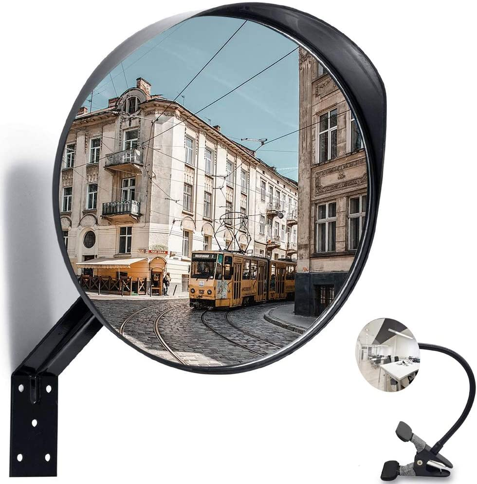 Moyu Home 24 inches Convex Security Safety Mirror,Adjustable Curved Acrylic Mirror for Outdoor and Garage Use,Black Model