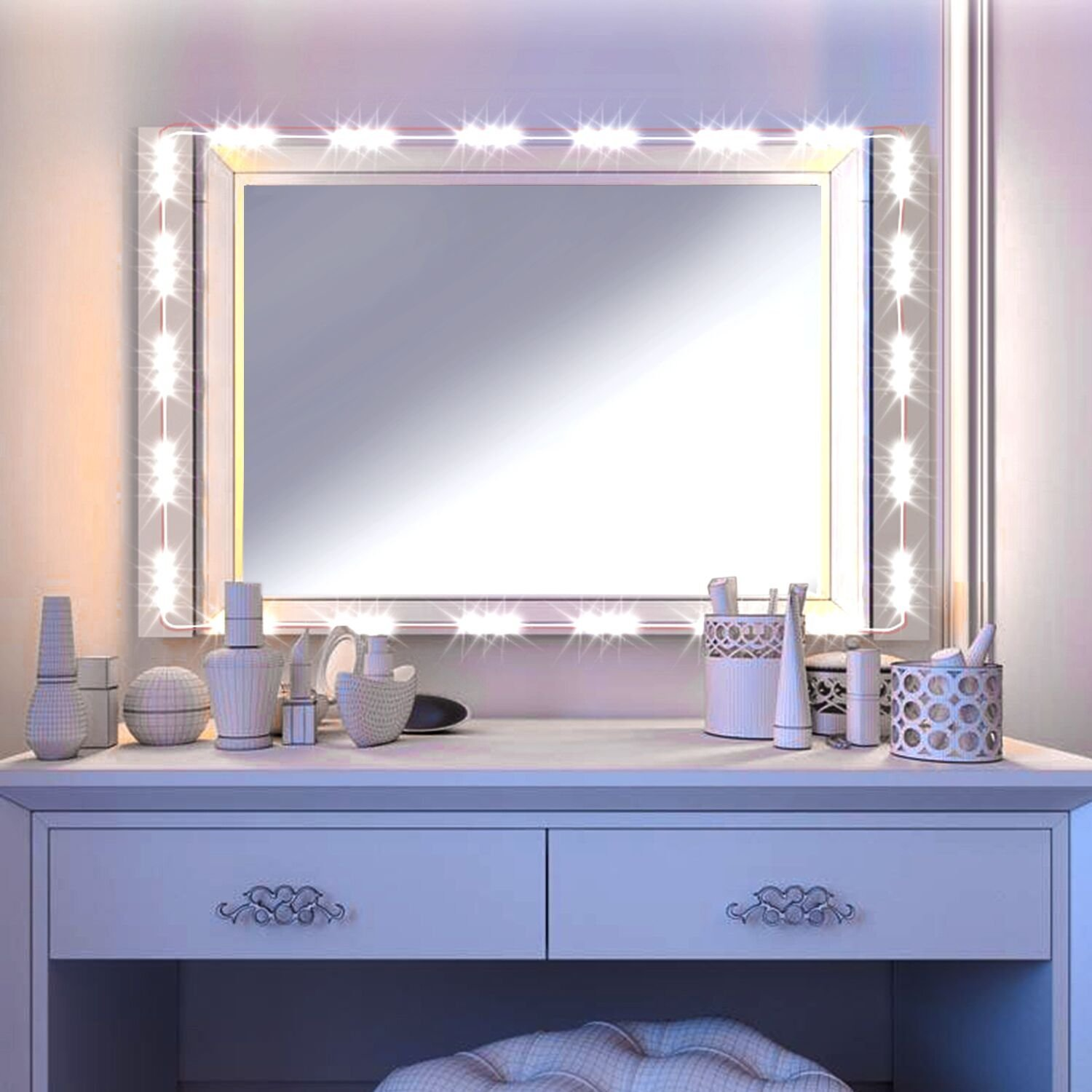 LED Vanity Mirror Lights Kit Image Hollywood Style Cosmetic Lights with Dimmer Controller and Strip Sticker 13ft 75 LEDs Plug in(Standard White)