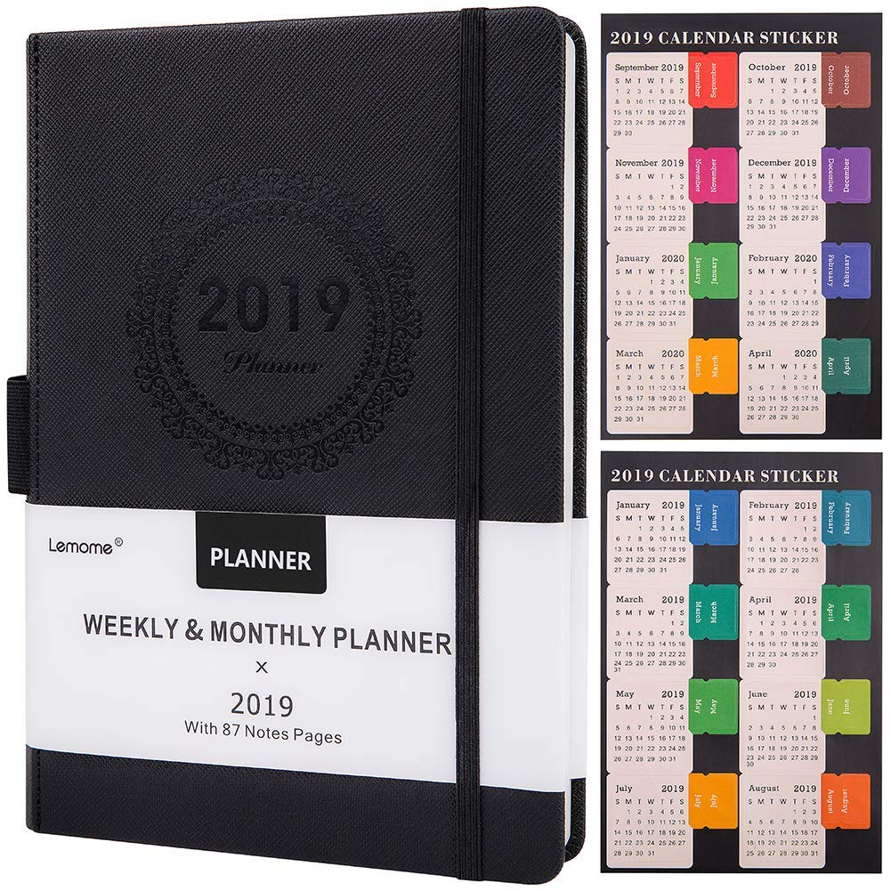 Planner 2019 with Pen Holder - Academic Weekly, Monthly and Yearly Planner. Thick Paper to Achieve Your Goals & Improve Productivity, Back Pocket with 88 Notes Pages, Gift Box, 5.75'' x 8.25''