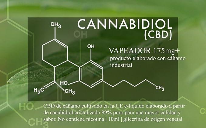 VAPEADOR 175mg+ aceite CBD de cáñamo cultivado en la UE e-líquido elaborado a partir de canabidiol cristalizado 99% puro para una mayor calidad y sabor.