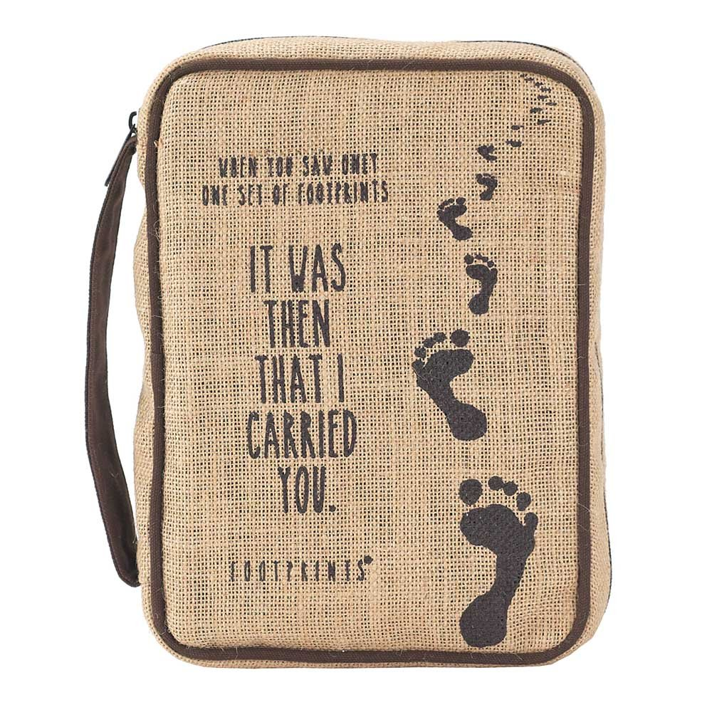 Footprints in the Sand Thinline Burlap Jute Bible Cover with Handle
