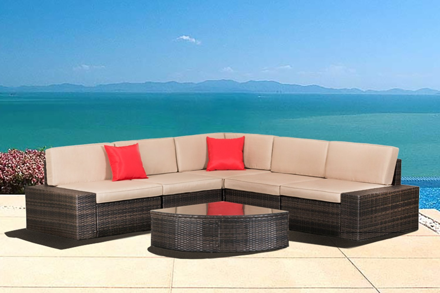 OUTROAD 6 piece Wicker Sectional Sofa Set - All Weather Brown Striped Outdoor Patio Furniture W/ Washable Cushions & Sector Glass Top Coffee Table | Incl. Waterproof Cover & Necessary tools