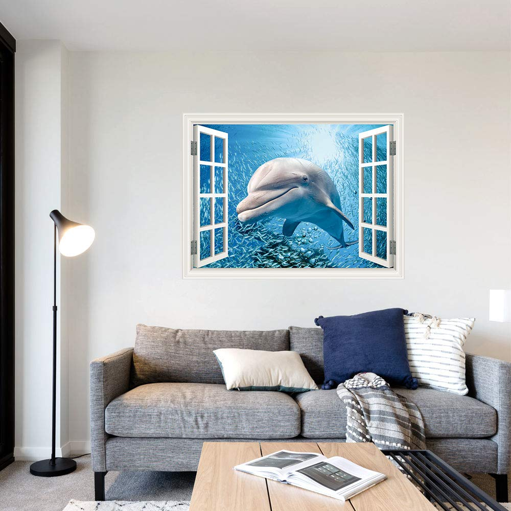 SUMGAR Self Adhesive Wall Murals Window Dolphin with Shoal of Fishes Outside Seascape Wall Art Decals for Windoless Bedroom,36x48 36x48