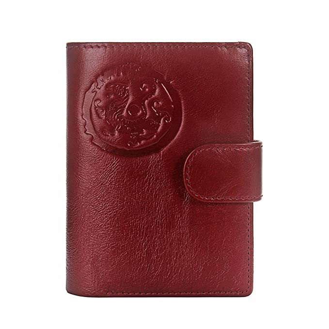 d3f7daa8d Contacts Men s Genuine Leather Passport Wallet Card Coin Holder Case for  Journey Red