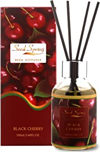 Seed Spring Reed Diffuser Black Cherry 100ml/3.38oz Scented Oil Diffuser with 6 Rattan Sticks for Home & Office Fragrance Gift