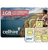 Cellhire Prepaid Europe Data SIM Card - Europe 1GB Bundle - 33 countries - 3-in-1 SIM