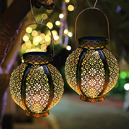 Hanging Solar Lights Outdoor Retro Lanterns Solar Powered Decorative LED Table Lamp with Handle, Waterproof Afirst Solar Garden Art Lights Outside Yard Tree Fence Patio Pathway Decor – 2 Pack