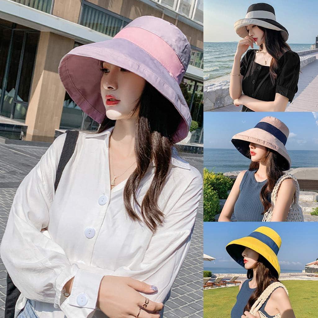 Women UV Protection Summer Hat,Reversible Wide Brim Beach Sun Cap Bucket Hat