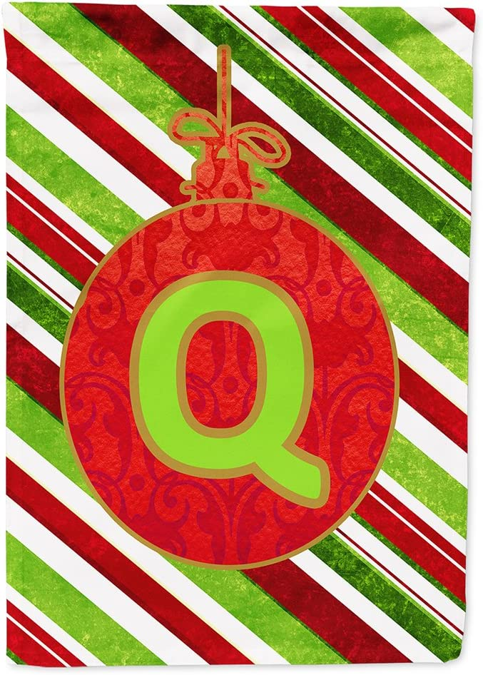 Caroline's Treasures CJ1039-Q-GF Christmas Oranment Holiday Letter Q Monogram Initial Flag Garden Size CJ1039, Small, Multicolor