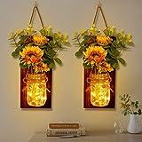 OurWarm Set of 2 Sunflower Mason Jar Sconces Wall Decor, Rustic Wall Sconces Handmade Hanging Mason Jars with LED Fairy Light