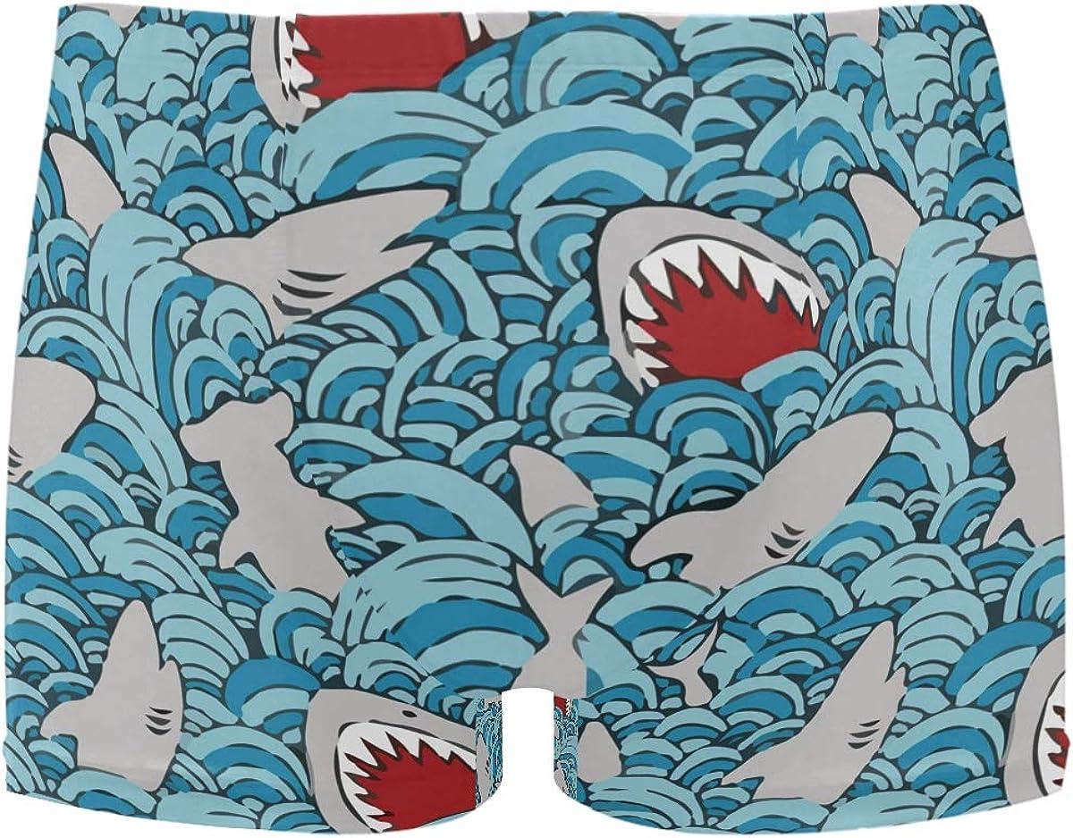 Shark Attack Funny Men's Jammer Swimsuit Solid Square Leg Swimwear Surf