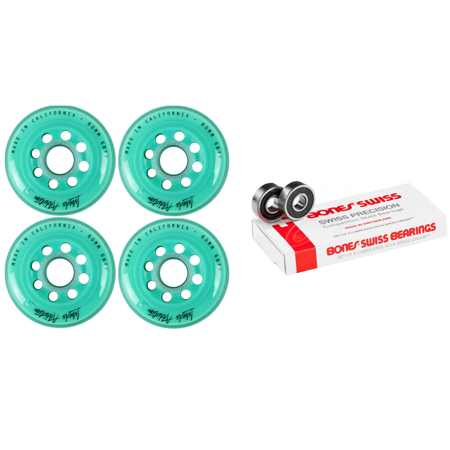 Labeda Inline Roller Hockey Skate Wheels Addiction Teal 80mm 4 Set Bones Swiss