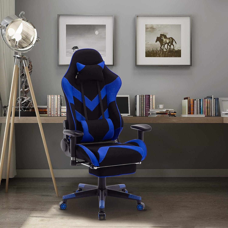 E-starain Chaise pour Gaming,Racing Sport Chaise en Tissu avec Repose-t/ête et Repose-Pieds,Chaise de Bureau pivotant r/églable en Hauteur,Noir