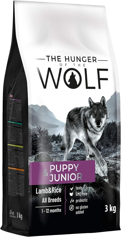 The Hunger of The Wolf Alimento seco para cachorros y animales jóvenes con cordero y arroz de todas las especies, fórmula delicada, 3kg