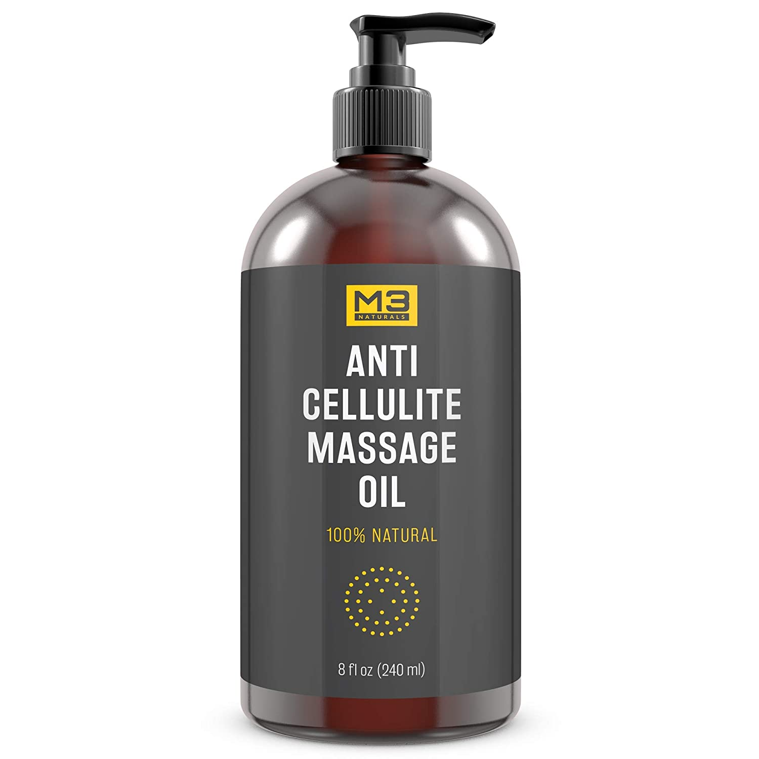 Premium Anti Cellulite Treatment Massage Oil - All Natural Ingredients – Penetrates Skin 6X Deeper Than Cellulite Cream - Targets Unwanted Fat Tissues & Improves Skin Firmness M3 Naturals