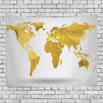 Amazon artpanda beautiful gold world map tapestry shine yellow artpanda beautiful gold world map tapestry shine yellow abstract wall hanging art for living room bedroom gumiabroncs Images