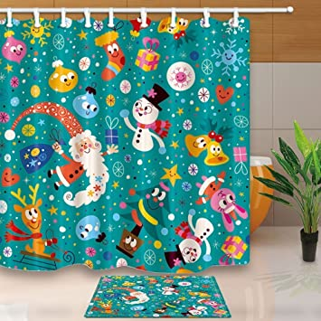 HiSoho Christmas Kids DecorSnowman And Santa Claus Gift71X71in Mildew Resistant Polyester Fabric
