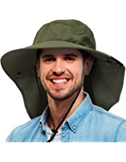 36532183 Tirrinia Mens Wide Brim Sun Hat with Neck Flap Fishing Safari Cap for  Outdoor Hiking Camping