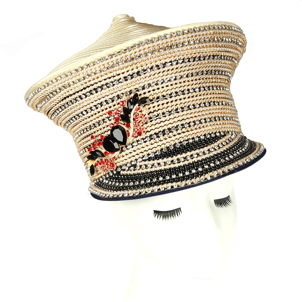 June's Young Girl Church Hat Satin Hat Formal Dress Beret Brimless Stones (Champange)