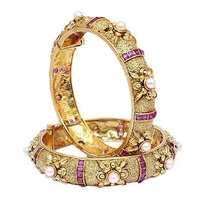 Amazoncom Indian Bollywood Antique Gold Plated Polki Ruby Bangle