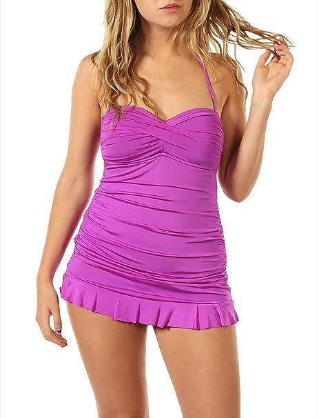 Amazon.com: Allen B una pieza traje de baño con falda y ...