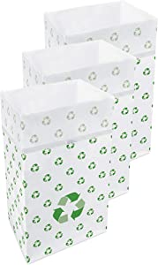 Clean Cubes 30 Gallon Disposable Sanitary Trash Cans & Recycling Bins, 3 Pack (Recycle Pattern)