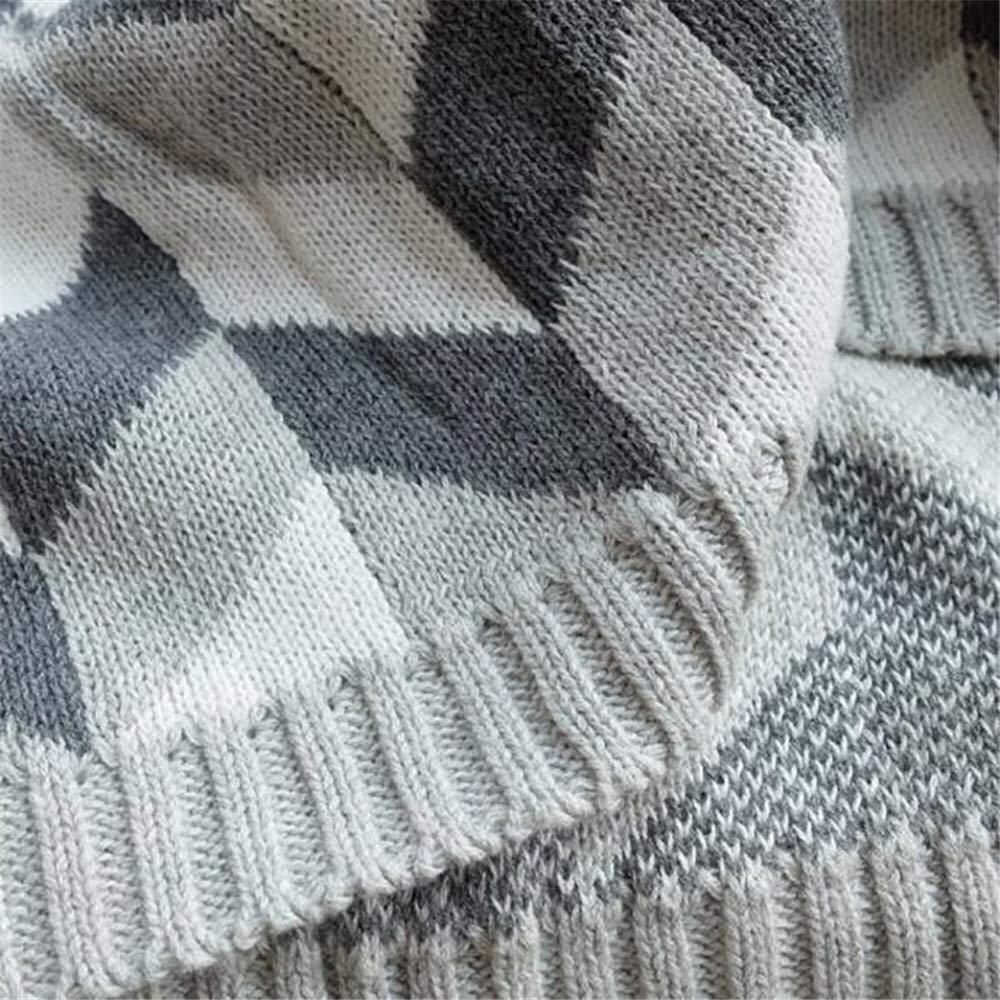 Amazon.com: JASONN Knit Throw Blanket, Gray Geometric Knit ...