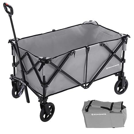 SONGMICS Carrito de Jardín Plegable, Aluminio, Carga Máxima de 150 kg, Carro de