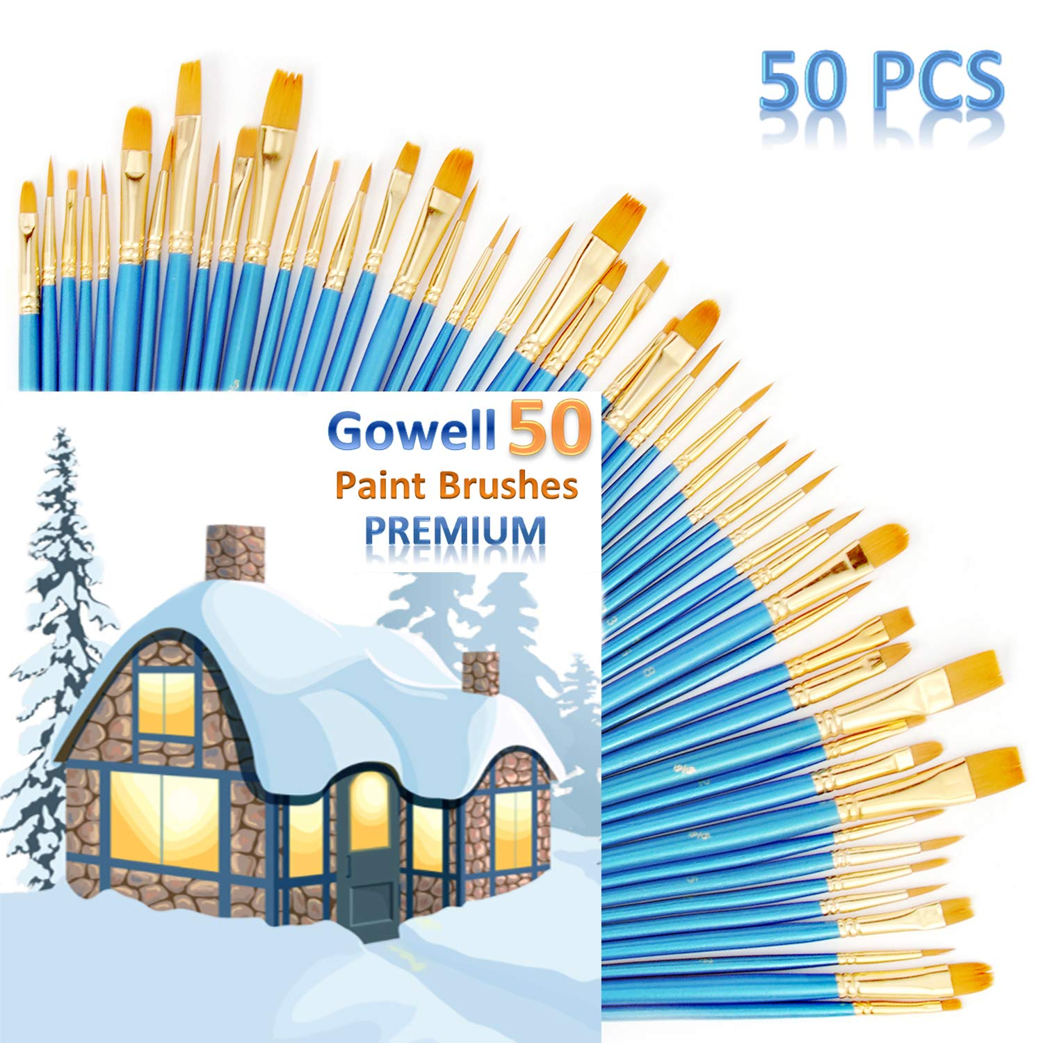 Acrylic Paint Brushes, Craft Paint Brushes, Artist Paint Brushes for All Purpose Oil Watercolor, Painting Artist Professional Kits (5Packs/50pcs) by Gowell