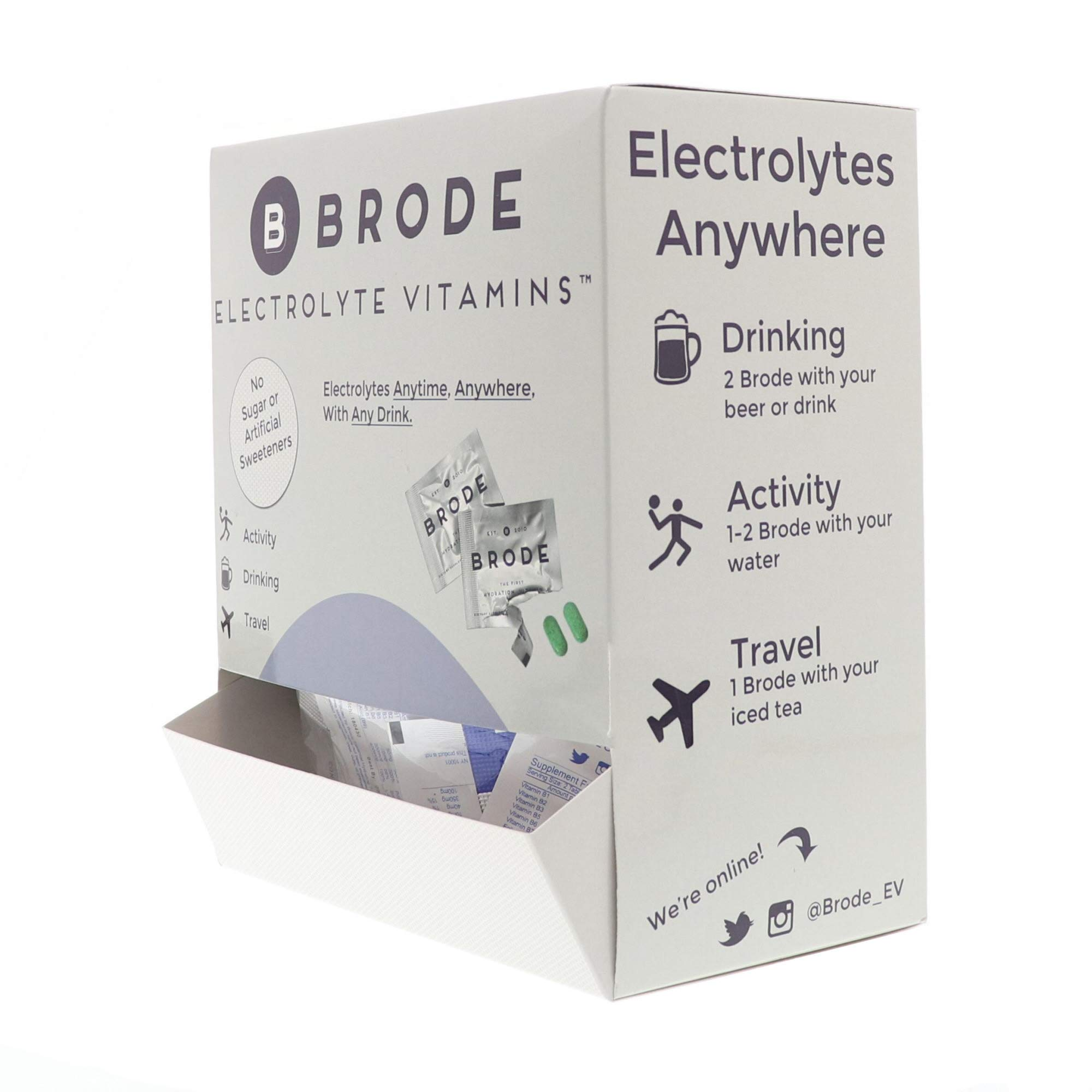 Brode Electrolyte Vitamin - Portable Zero-Sugar Electrolyte Tablets - for Sports, Hangovers, Jet Lag, 5 Essential Electrolytes + 9 Vitamins 100-Pack by Brode (Image #2)
