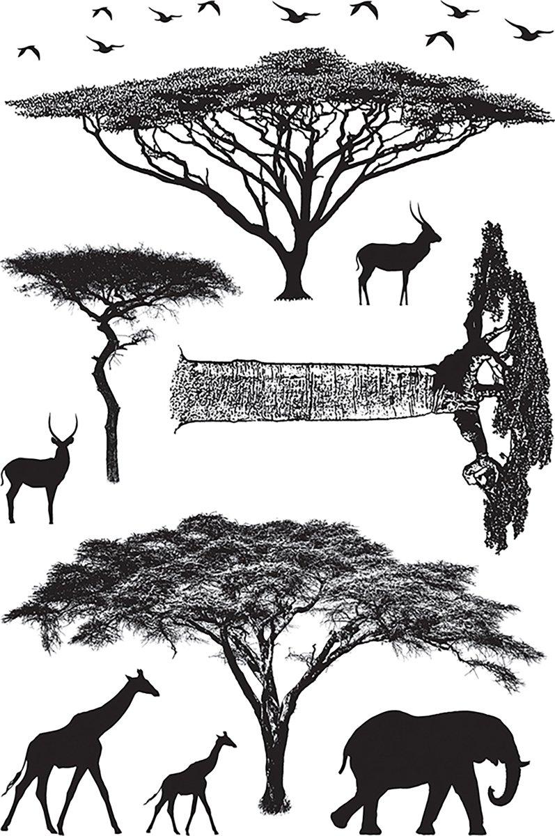 Darkroom Door Cling Stamps 7''x5''-african Trees