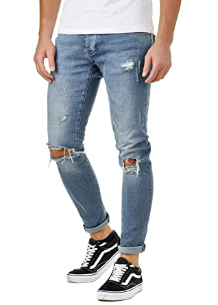 EightyFive Herren Denim Skinny Destroyed Jeans Hose Slim Fit Zerrissen Blau  EFJ8542: Amazon.de: Bekleidung